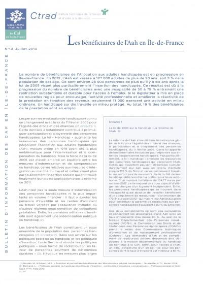 BI-12 Les bénéficiaires de l'Aah en Île-de-France