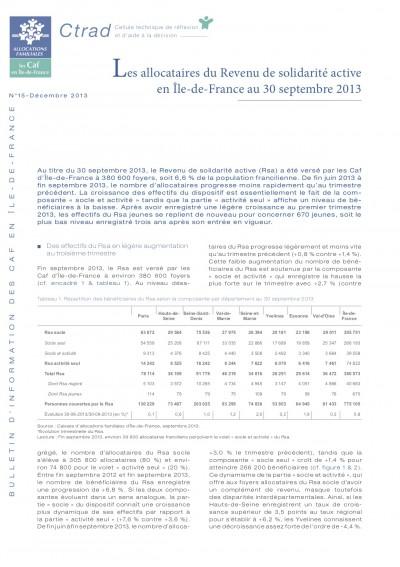 BI-15 Les allocataires du Revenu de solidarité active  en Île-de-France au 30 septembre 2013