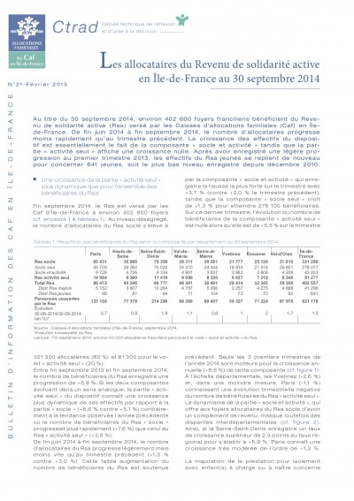 BI-21 Les allocataires du Revenu de solidarité active en Île-de-France au 30 septembre 2014