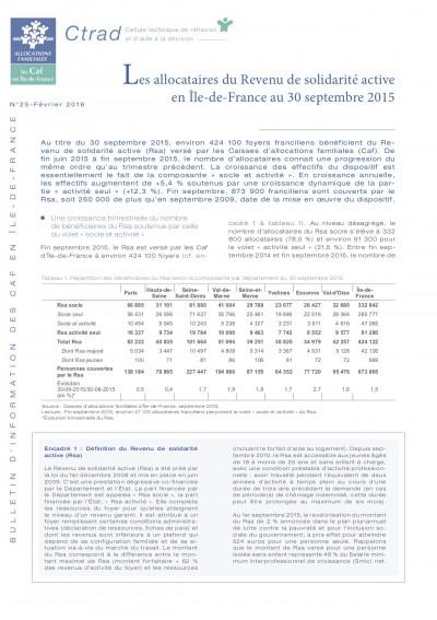 BI-25 Les allocataires du Revenu de solidarité active en Ile-de-France au 30 septembre 2015