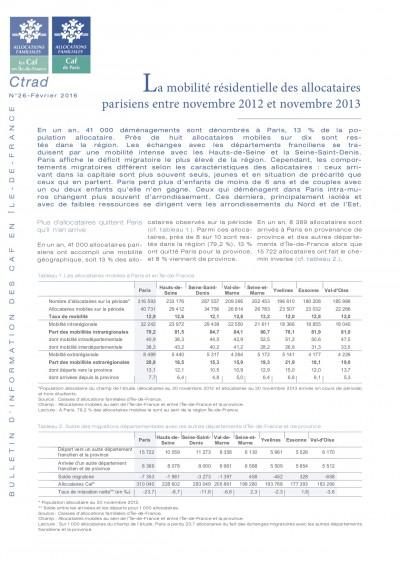 BI-26 La mobilité résidentielle des allocataires parisiens entre novembre 2012 et novembre 2013