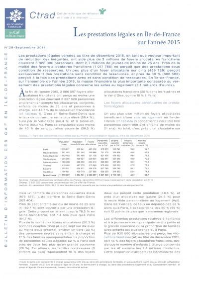 BI-29 Les prestations légales en Île-de-France sur l'année 2015