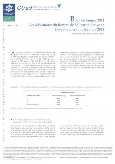 BI-3 Bilan de l'année 2011 Les allocataires du Revenu de Solidarité Active en Ile de France décembre 2011