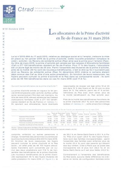 BI-31 Les allocataires de la Prime d'activité en Île-de-France au 31 mars 2016