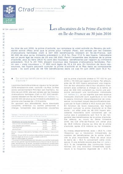 BI-34 Les allocataires de la Prime d'activité en Île-de-France au 30 juin 2016