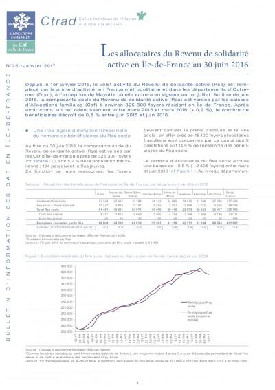 BI-36 Les allocataires du Revenu de solidarité active en Île-de-France au 30 juin 2016