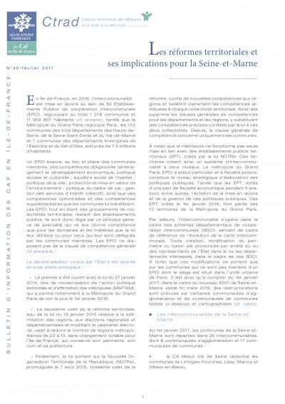BI-40 Les réformes territoriales et ses implications pour la Seine-et-Marne