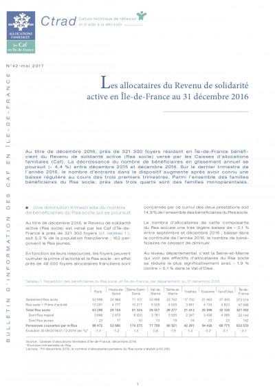 BI-42 Les allocataires du Revenu de solidarité active en Île-de-France au 31 décembre 2016