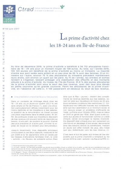 BI-43 La prime d'activité chez les 18-24 ans en Île-de-France