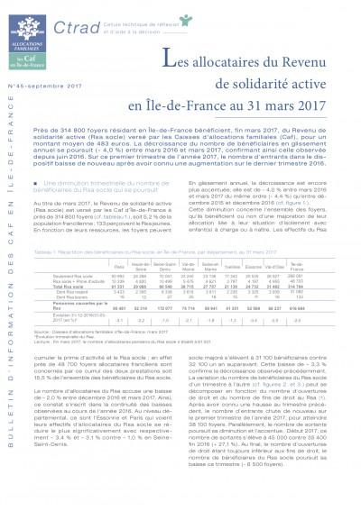 BI-45 Les allocataires du Revenu de solidarité active en Île-de-France au 31 mars 2017