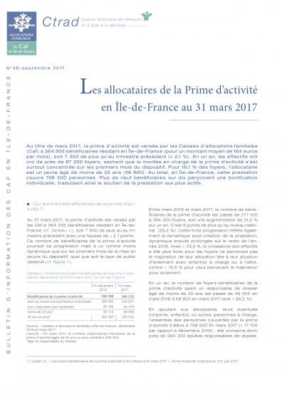 BI-46 Les allocataires de la Prime d'activité en Île-de-France au 31 mars 2017