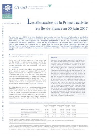 BI-48 Les allocataires de la Prime d'activité en Île-de-France au 30 juin 2017