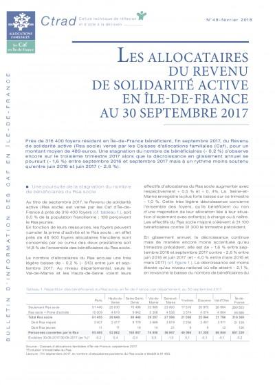 BI-49 LES ALLOCATAIRES DU REVENU DE SOLIDARITÉ ACTIVE EN ÎLE-DE-FRANCE AU 30 SEPTEMBRE 2017
