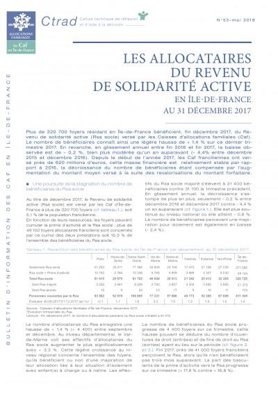 BI-53 LES ALLOCATAIRES DU REVENU DE SOLIDARITÉ ACTIVE EN ÎLE-DE-FRANCE AU 31 DÉCEMBRE 2017