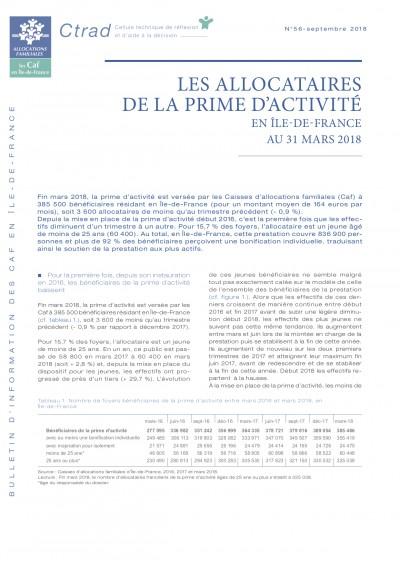 BI-56 LES ALLOCATAIRES DE LA PRIME D'ACTIVITÉ EN ÎLE-DE-FRANCE AU 31 MARS 2018