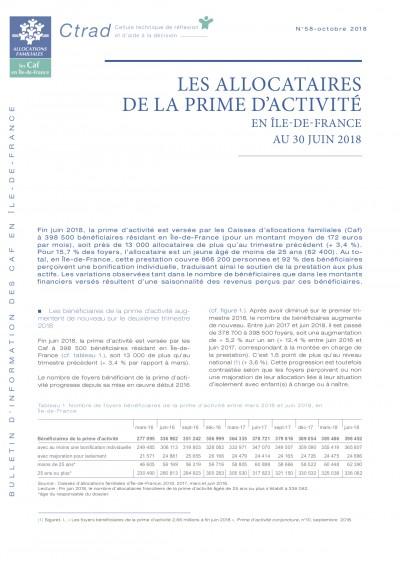BI-58 LES ALLOCATAIRES DE LA PRIME D'ACTIVITÉ EN ÎLE-DE-FRANCE AU 30 JUIN 2018