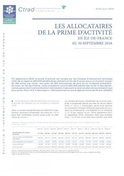 BI-61 LES ALLOCATAIRES DE LA PRIME D'ACTIVITÉ EN ÎLE-DE-FRANCE AU 30 SEPTEMBRE 2018
