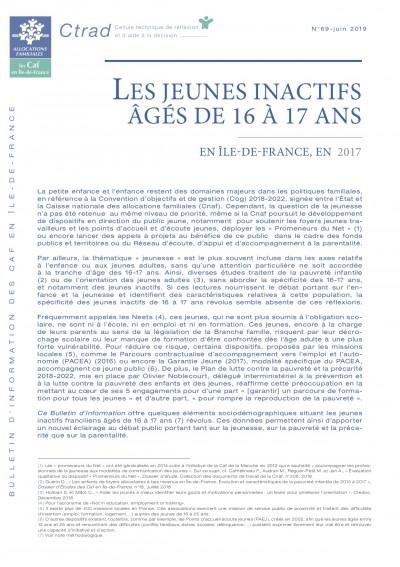 BI-69 LES JEUNES INACTIFS ÂGÉS DE 16 À 17 ANS EN ÎLE-DE-FRANCE, EN 2017