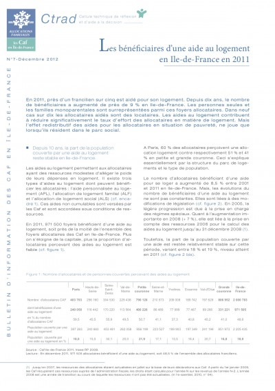 BI-7 Les bénéficiaires d'une aide au logement en Ile-de-France en 2011