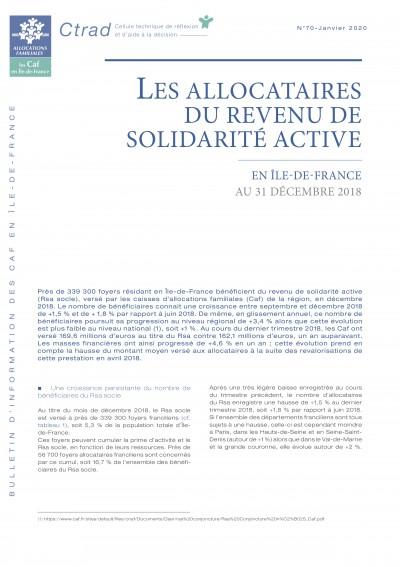 BI-70 LES ALLOCATAIRES DU REVENU DE SOLIDARITÉ ACTIVE EN ÎLE-DE-FRANCE AU 31 DÉCEMBRE 2018