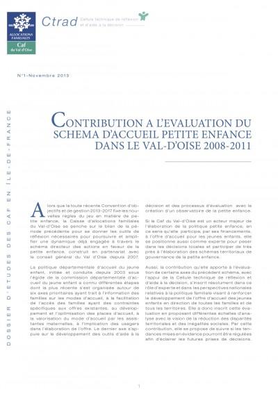 DE-1 CONTRIBUTION A L'EVALUATION DU SCHEMA D'ACCUEIL PETITE ENFANCE DANS LE VAL-D'OISE 2008-2011