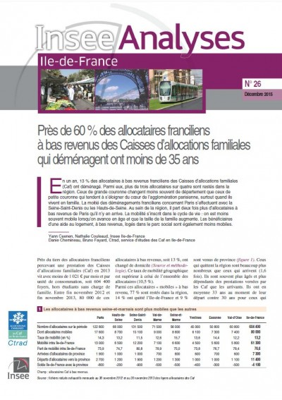 Insee Analyse Île-de-France N°26 : La mobilité des allocataires à bas revenus en Île-de-France (Déc 2015)